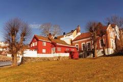 Costruzioni tradizionali del porto, Norvegia Fotografia Stock Libera da Diritti