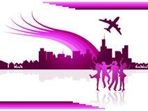 Costruzioni trasporto e viaggio di manifestazioni della città di voli illustrazione di stock