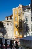 Costruzioni variopinte alte con l'ombra della palma Fotografie Stock