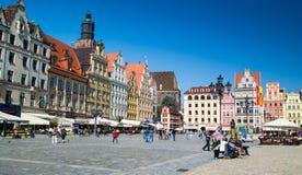 Costruzioni variopinte nel centro urbano di Wroclaw Fotografia Stock