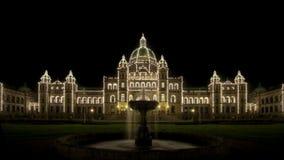 Costruzioni Victoria del Parlamento della fontana di acqua BC Fotografia Stock