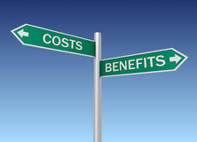 Costs benefits road sign Stock Photos