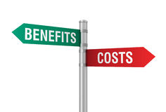 Costs benefits road sign Royalty Free Stock Photos