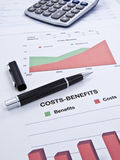 Costs-Benefits sheet Stock Photos