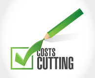 Costs cutting check mark illustration Royalty Free Stock Image