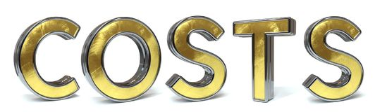 Costs golden text. Costs 3d rendered gold and silver color text on white Stock Photography