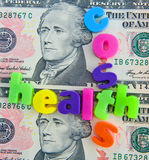 Costs of health care in the USA. A concept image of the costs of health care in the United States of America made using multi-colored lower case letters cross Royalty Free Stock Photo