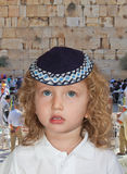 He costs at main Jewish shrine -  Western wall of Temple Royalty Free Stock Image