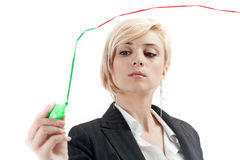 Costs management. Cutting costs management concept with office woman reducing business expenses Stock Photography