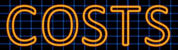 Costs neon sign. Abstract 3d rendered words costs orange neon sign on blue wire background Royalty Free Stock Image