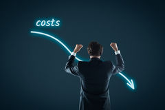 Costs reduction. Costs cut, costs optimization business concept. Businessman celebrate reduced costs Stock Images