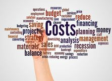 Costs word cloud and hand with marker concept. On white background stock images