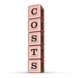Costs Word Sign. Vertical Stack of Rose Gold Metallic Toy Blocks Royalty Free Stock Images