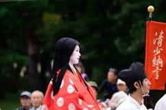 Costume authentique de kimono au défilé de Jidai Matsuri, Japon Images stock