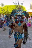 Aztec Warrior represented by a person with costume and accessories Stock Photos