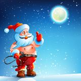 Costume BDSM. Gag Santa Claus. Santa Claus is standing in the snow on New Year's night in BDSM suit. Costume BDSM. Santa Claus holding a whip vector illustration
