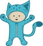 Costume bonito do gato do desgaste do miúdo Foto de Stock