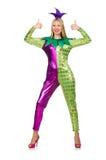 Costume d'uso del pagliaccio della donna isolato Immagini Stock