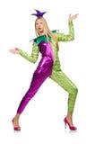 Costume d'uso del pagliaccio della donna isolato Immagini Stock Libere da Diritti