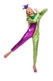 Costume d'uso del pagliaccio della donna isolato Fotografie Stock Libere da Diritti