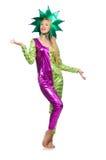 Costume d'uso del pagliaccio della donna isolato Fotografia Stock Libera da Diritti