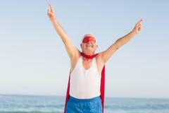 Costume d'uso del superman dell'uomo senior Fotografia Stock