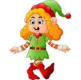 Costume d'uso dell'elfo della ragazza felice Immagini Stock Libere da Diritti