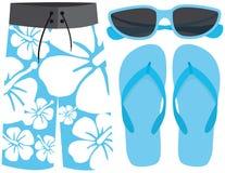Costume da bagno, occhiali da sole e sandali Fotografie Stock