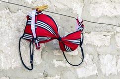 Costume da bagno rosso sulla corda da bucato Immagini Stock Libere da Diritti