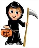 Costume de Halloween de la mort d'enfant d'isolement Image stock