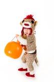 Costume de Halloween de singe de chaussette Photographie stock libre de droits
