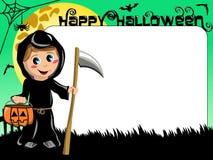 Costume de la mort d'enfant de frontière de cadre de tableau de photo de Halloween Images stock