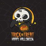 Costume de la mort de des bonbons ou un sort de Halloween Images libres de droits
