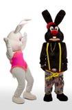 Costume de lapin de mascotte - scène confuse Images libres de droits