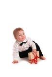 Costume de monsieur de bébé garçon et papillon de lien sur le fond blanc Photographie stock libre de droits