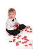 Costume de monsieur de bébé garçon et papillon de lien sur le fond blanc Photographie stock