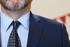Costume de port d'homme barbu avec la cravate images libres de droits