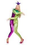 Costume de port de clown de femme d'isolement Photo libre de droits