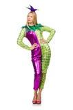 Costume de port de clown de femme d'isolement Image libre de droits