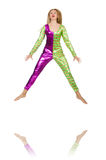 Costume de port de clown de femme d'isolement Photos libres de droits
