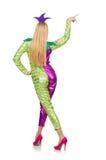 Costume de port de clown de femme d'isolement Images stock