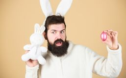 Costume de port de lapin d'homme Oreilles molles d'homme drôle de lapin Concept d'activités de Pâques Concept d'original Célébrez image libre de droits