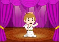 Costume de port mignon d'ange de petit garçon sur l'étape illustration de vecteur