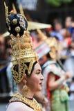 Costume de San Francisco Pride Parade Asian Man Golden Image stock