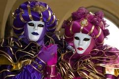 Costume decorativo pieno nel carnevale di Venezia Immagini Stock