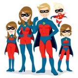 Costume della famiglia del supereroe Fotografie Stock Libere da Diritti