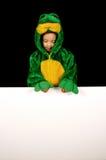 Costume della rana con il segno in bianco Fotografie Stock Libere da Diritti