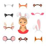Costume delle orecchie degli animali delle ragazze illustrazione di stock