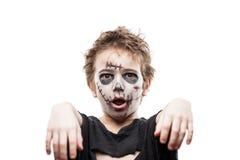 Costume di grido di orrore di Halloween del ragazzo del bambino dello zombie di morto che cammina Fotografie Stock Libere da Diritti