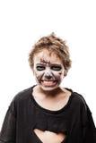 Costume di grido di orrore di Halloween del ragazzo del bambino dello zombie di morto che cammina Fotografie Stock